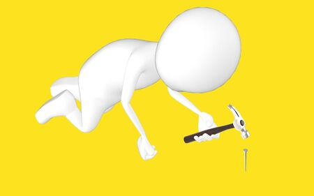 3d white character , chair hammering a nail -yellow background- 3d rendering Imagens - 134048953
