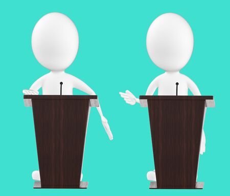 3d white character , character in a podium -turquoise background- 3d rendering Zdjęcie Seryjne