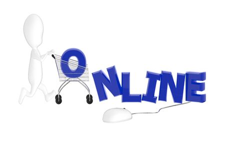 3d character , man cart , online text and a mouse with its cable plug in to the text- 3d rendering
