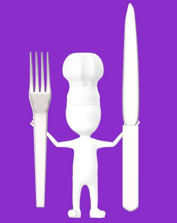 3d white character , chef with a fork and knife -purple background- 3d rendering