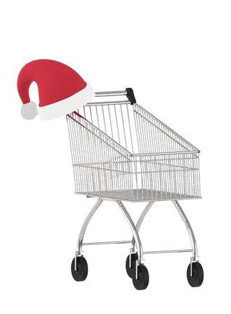 3d empty shopping cart and a santa cap- 3d rendering Banco de Imagens