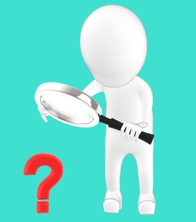 3d white character holding a magnifier in hands and looking question mark through it -turquoise background- 3d rendering 写真素材