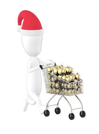 3d character , man wearing xmas cap and moving a cart full of xmas decors- 3d rendering Banco de Imagens