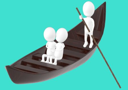 3d white character , couples on boat , while another characer rowing the boat -turquoise background- 3d rendering 스톡 콘텐츠