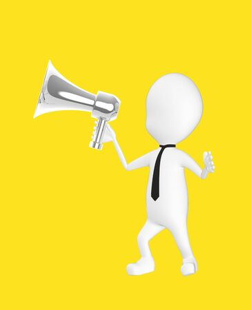 3d white character holding a loud speaker -yellow background- 3d rendering