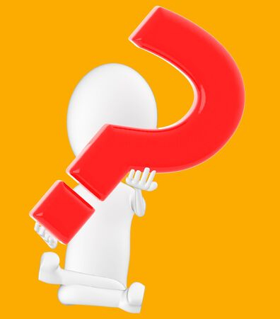 3d white character , holding a question mark -orange background- 3d rendering