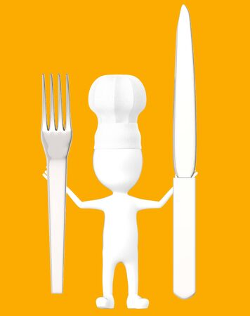 3d white character , chef with a fork and knife -orange background- 3d rendering