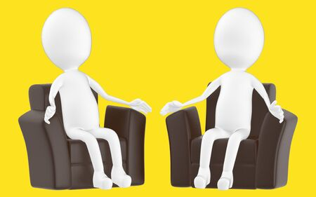3d white character , sitting in a sofa -yellow background- 3d rendering Zdjęcie Seryjne