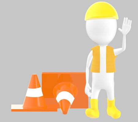 3d white character work men showing stop gesture , traffic cones behind -grey background- 3d rendering Stock Photo