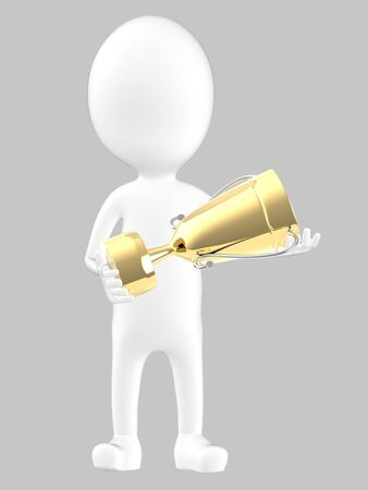 3d white character holding a golden trophy -grey background- 3d rendering