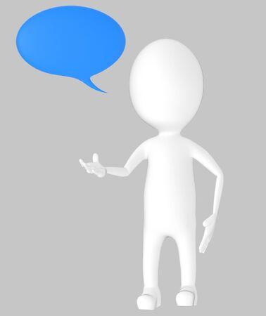 3d white character, speech bubble -grey background- 3d rendering Zdjęcie Seryjne