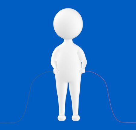 3d character , man holding wires from both ends  direction in hand- blue  background - 3d rendering
