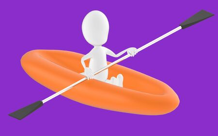 3d white character , rowing a boat -purple background- 3d rendering 스톡 콘텐츠