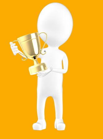 3d white character holding a trophy -orange background- 3d rendering