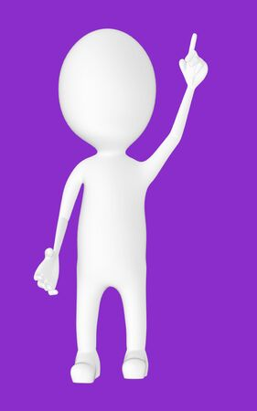 3d white character , pointing his hands upward -purple background- 3d rendering