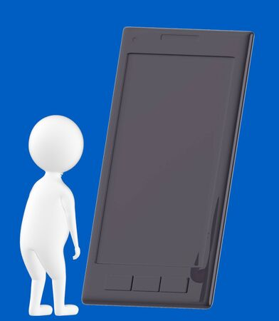 3d character , man looking at a large empty screen smartphone- blue  background - 3d rendering