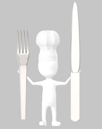 3d white character , chef with a fork and knife -grey background- 3d rendering Banco de Imagens