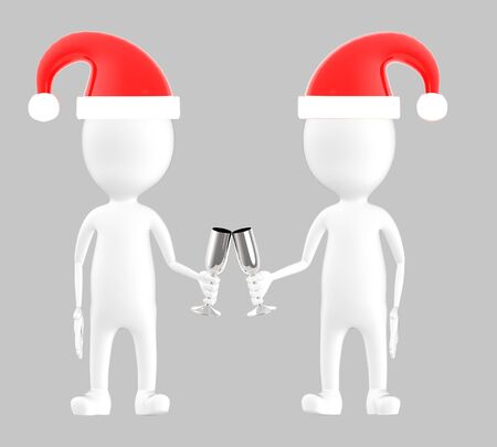 3d white character , two character wearing xmas cap and clinking glasses -grey background- 3d rendering Banco de Imagens