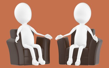 3d white character , sitting in a sofa -brown background- 3d rendering