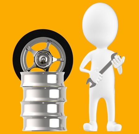 3d white character , holding wrench standing near to tyre rim -orange background- 3d rendering Imagens - 134049139