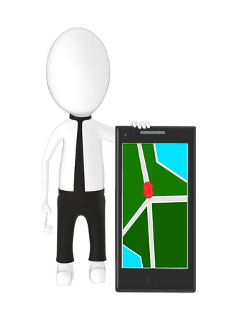 3d character , man with a smartphone and a pin in it on the empty screen- 3d rendering