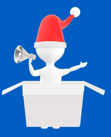 3d character , man coming out from gift box wearing xmas cap and holding megaphone- blue  background - 3d rendering Banco de Imagens