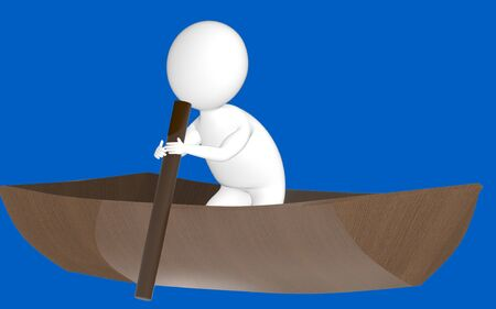 3d character , man rowing a boat- blue  background - 3d rendering