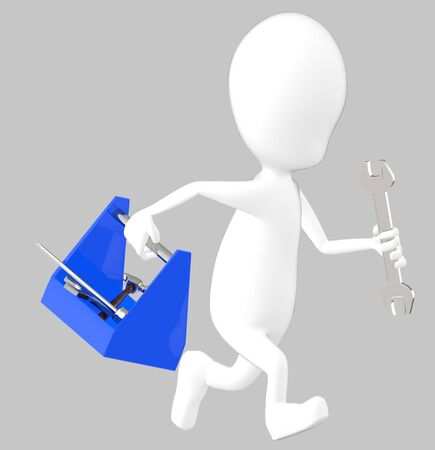 3d white character holding a toolkit and a wrench in his hands and running -grey background- 3d rendering