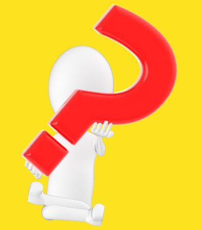 3d white character , holding a question mark -yellow background- 3d rendering