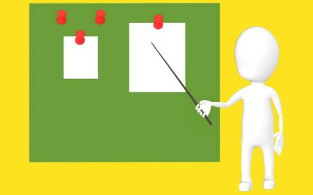 3d white character holding a stick and pointing it towards a green board with pinned papers -yellow background- 3d rendering