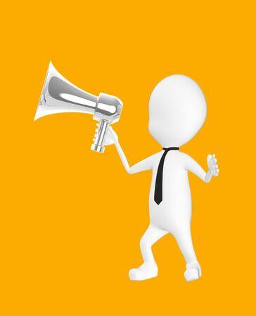 3d white character holding a loud speaker -orange background- 3d rendering