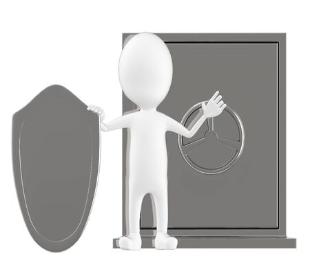 3d character , man locker and a shield- 3d rendering Stock Photo