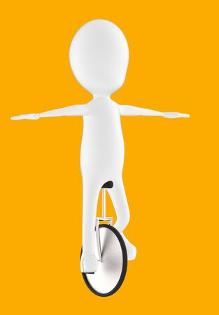 3d white character balancing and riding a unicycle -orange background- 3d rendering Stock Photo