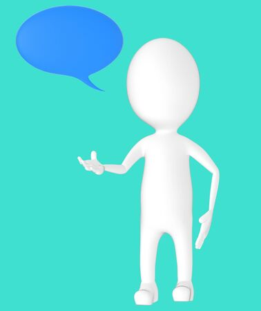 3d white character, speech bubble -turquoise background- 3d rendering