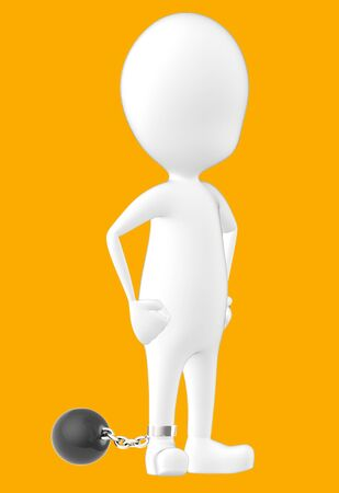 3d white character , leg tied to a weight -orange background- 3d rendering Banco de Imagens