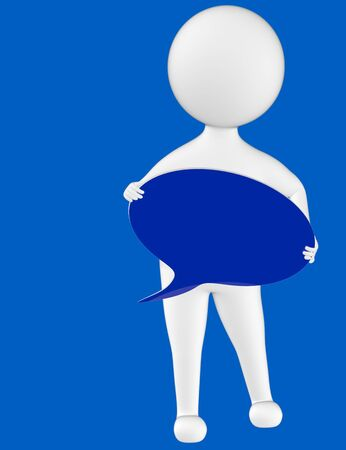3d character , man holding a speech bubble in hands- blue  background - 3d rendering
