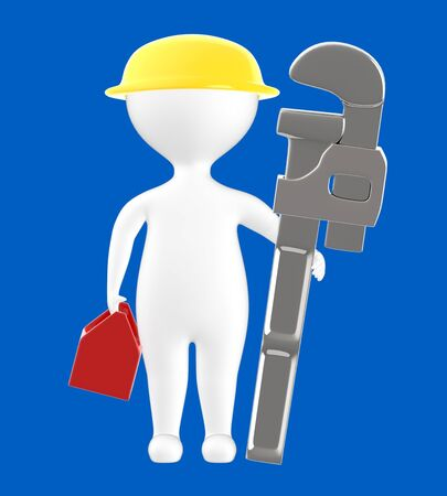 3d character , man holding a toolkit , wearing safety helmet and holding a pipe wrench - blue  background - 3d rendering