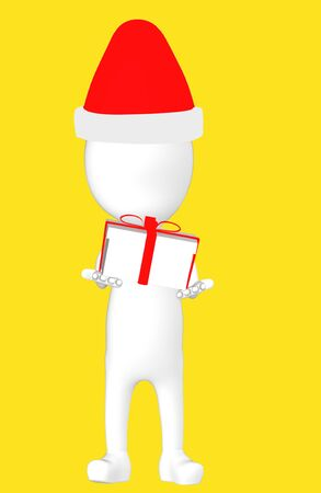 3d white character wearing a xmas cap and holding wrapped gift -yellow background- 3d rendering