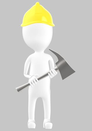 3d white character man wearing safety helmet and holding a axe -grey background- 3d rendering Banco de Imagens