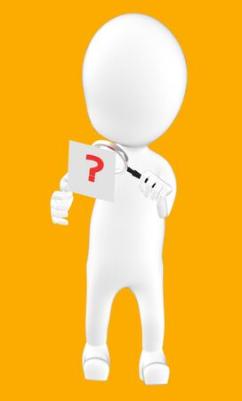 3d white character examining a question mark using a maginifier -orange background- 3d rendering