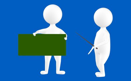 3d character , man holding a stick ad pointing towards a board which is held by another character- blue  background - 3d rendering Stock Photo