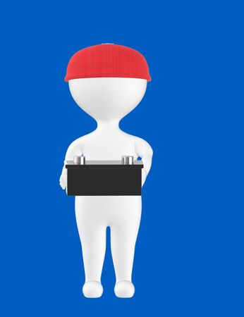 3d character , man holding a car battery- blue  background - 3d rendering Imagens - 134049370