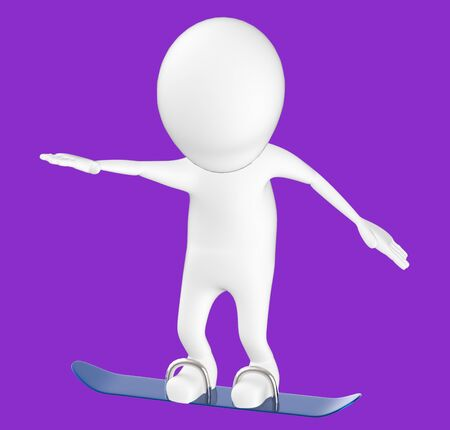 3d white character , snow skating -purple background- 3d rendering 스톡 콘텐츠