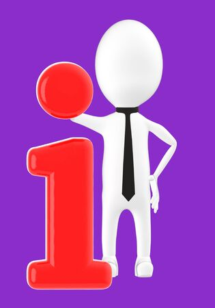 3d white character leaning on information icon -purple background- 3d rendering 写真素材