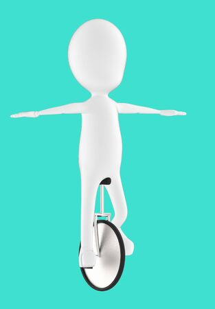 3d white character balancing and riding a unicycle -turquoise background- 3d rendering Stock Photo - 134049591