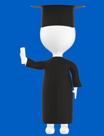 3d character , man graduated character- blue  background - 3d rendering Banco de Imagens