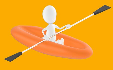 3d white character , rowing a boat -orange background- 3d rendering 스톡 콘텐츠