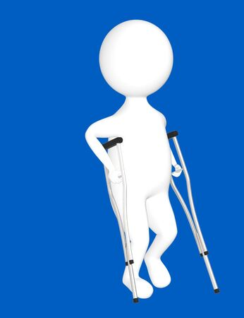 3d character , man with crunches- blue  background - 3d rendering 版權商用圖片 - 134049660