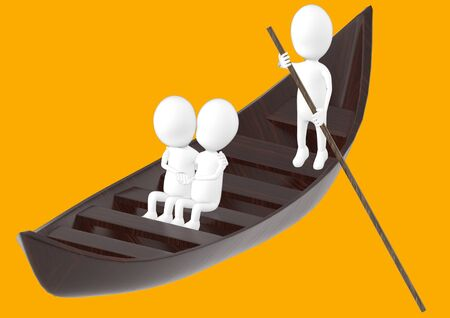 3d white character , couples on boat , while another characer rowing the boat -orange background- 3d rendering 스톡 콘텐츠
