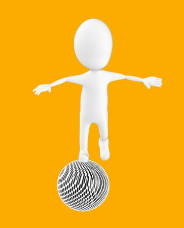 3d white character , balancing on a ball -orange background- 3d rendering